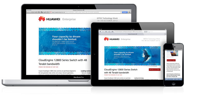 Huawei responsive website screenshot